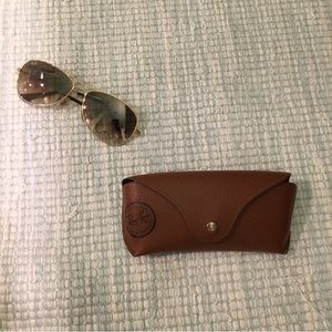 Ray-Ban golden rim sunglasses and case